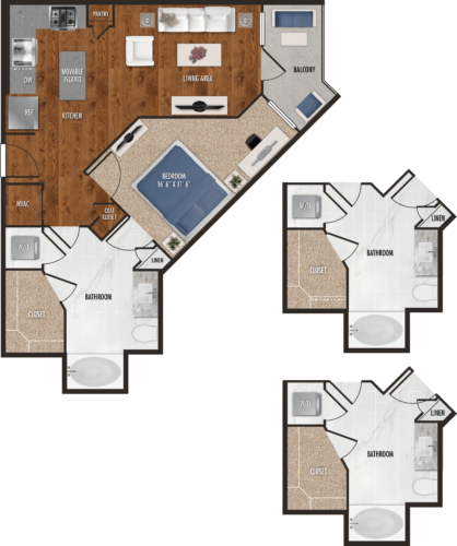 A2 Houston One Bedroom Floor Plan