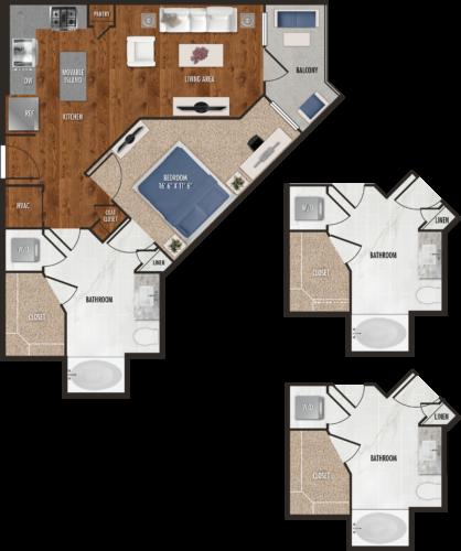A2 Houston One Bedroom Floor Plan
