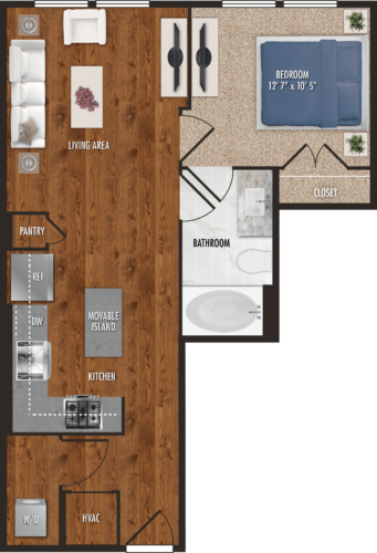 A3 Houston One Bedroom Floor Plan