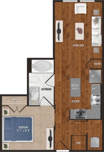 A4 Houston One Bedroom Floor Plan
