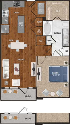 A5 Houston One Bedroom Floor Plan