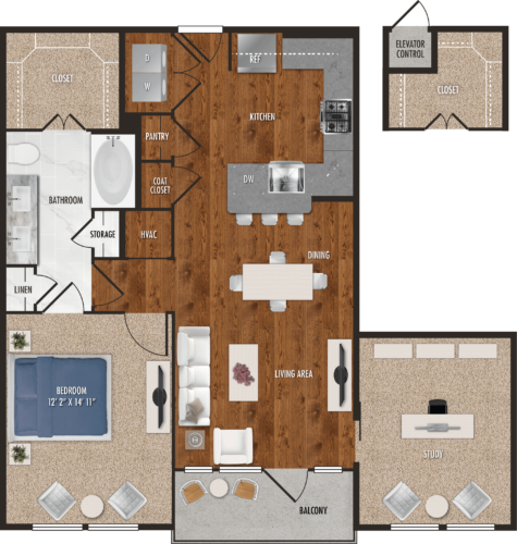 A7 Houston One Bedroom Floor Plan