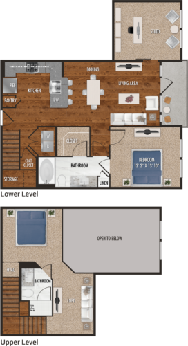 A7-M Houston One Bedroom Floor Plan