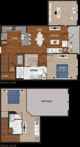 A7-M Houston One Bedroom Floor Plan