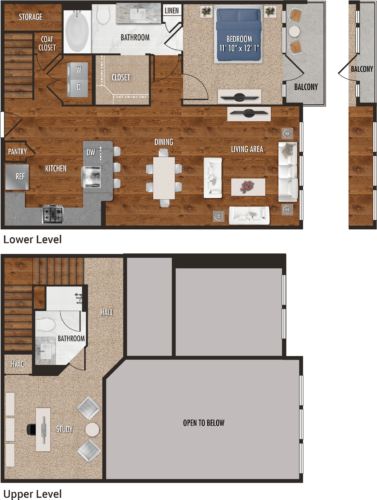 A8-M Houston One Bedroom Floor Plan