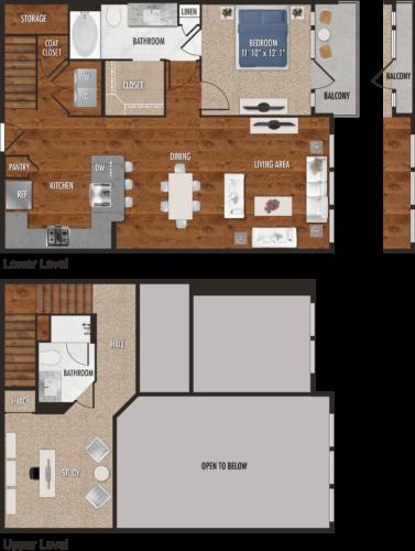 A8-M Houston One Bedroom Floor Plan