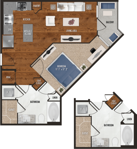 A9 Houston One Bedroom Floor Plan