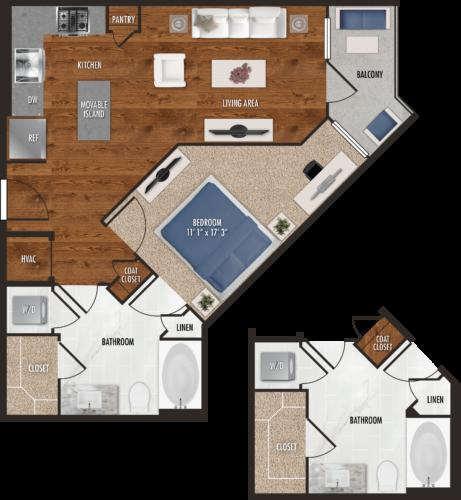 A9 Houston One Bedroom Floor Plan