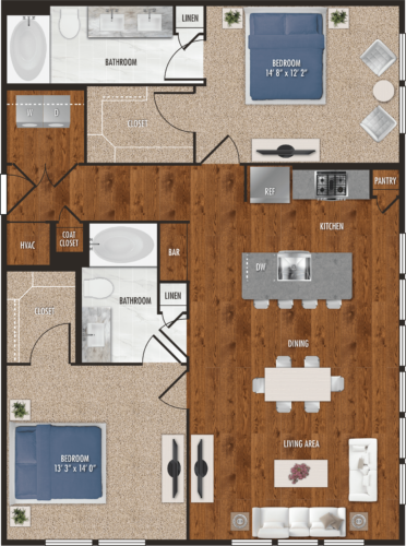 B2 Houston Two Bedroom Floor Plan