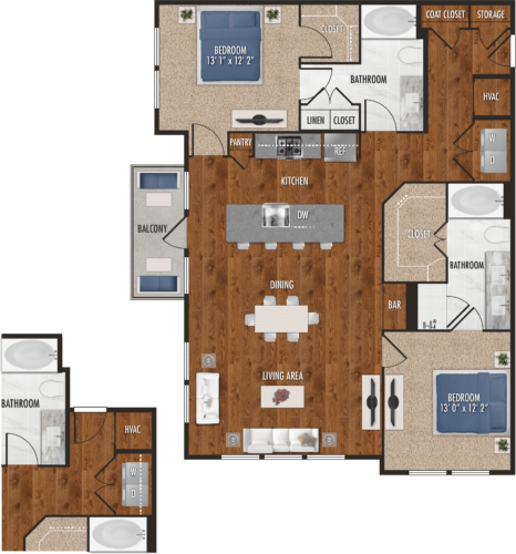 B5 Houston Two Bedroom Floor Plan