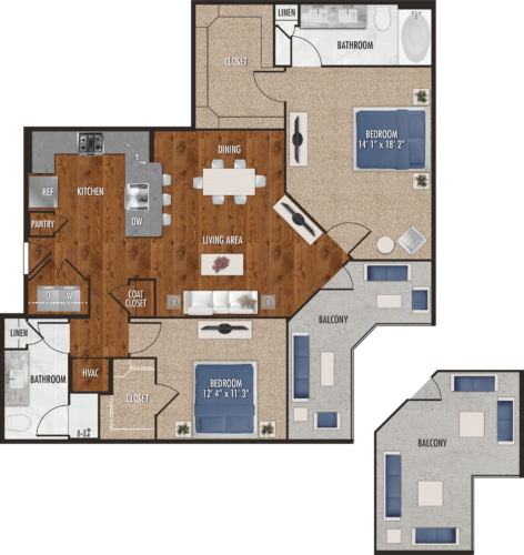 B6 Houston Two Bedroom Floor Plan