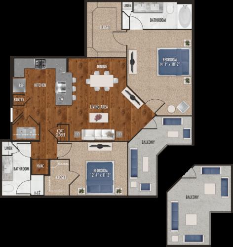 B6 Houston Two Bedroom Floor Plan