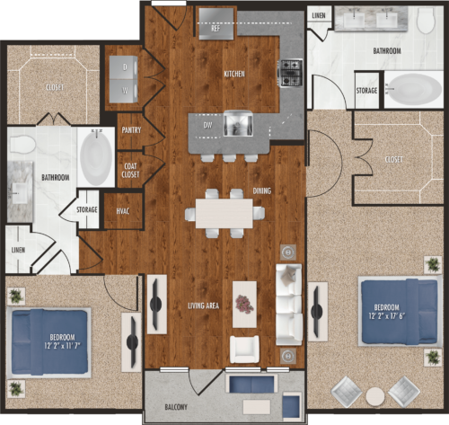 B7 Houston Two Bedroom Floor Plan