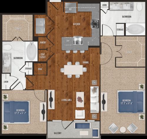 B7 Houston Two Bedroom Floor Plan