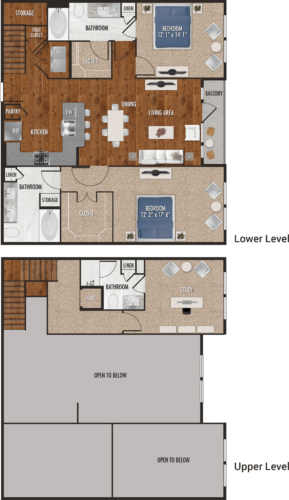 C1-M Houston Two Bedroom with Loft Floor Plan
