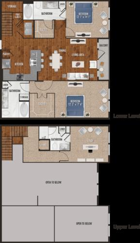 C1-M Houston Two Bedroom with Loft Floor Plan
