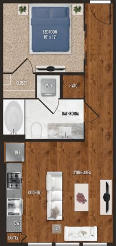 E2 Houston Studio Apartment Floor Plan