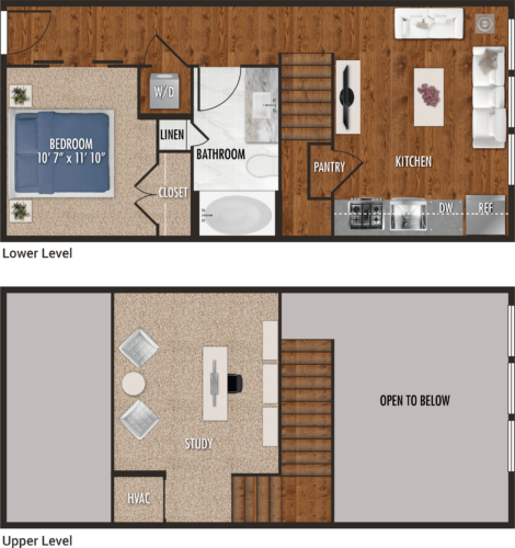 E2-M Houston Studio Apartment Floor Plan