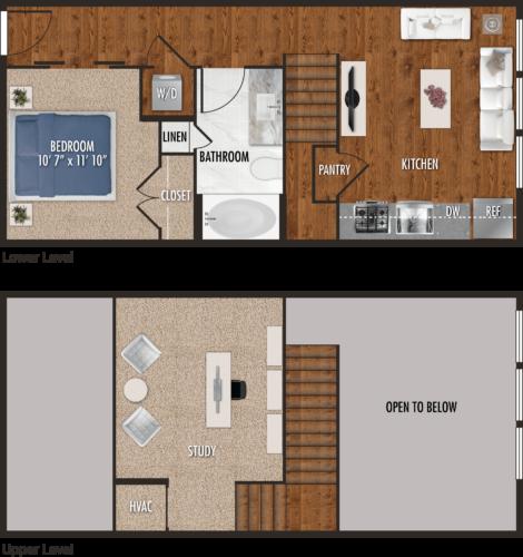 E2-M Houston Studio Apartment Floor Plan