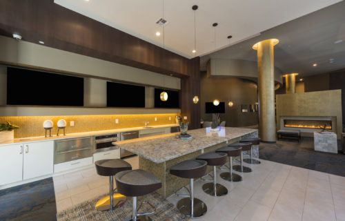 gourmet catering kitchen with ample seating